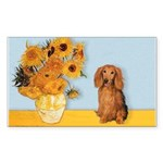 Sunflowers - Doxie (LH,S) Sticker (Rectangle)