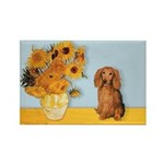 Sunflowers - Doxie (LH,S) Rectangle Magnet