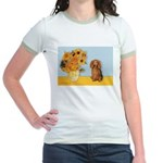 Sunflowers - Doxie (LH,S) Jr. Ringer T-Shirt