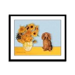 Sunflowers - Doxie (LH,S) Framed Panel Print