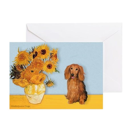 Sunflowers - Doxie (LH,S) Greeting Cards (Pk of 10