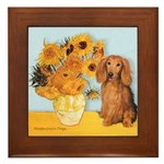 Sunflowers - Doxie (LH,S) Framed Tile