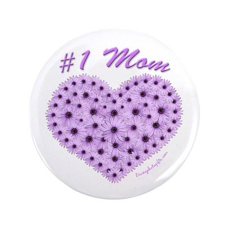 #1 Mom Flower Heart Button 3.5 inch