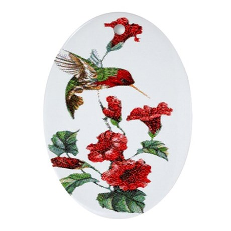 Red Hummingbird Oval Ornament