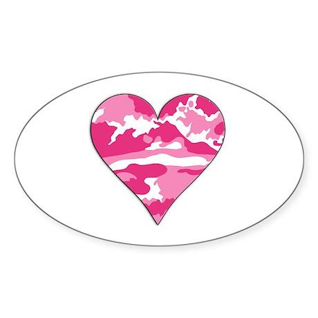 Pink Camo 2D Valentine Heart Oval Sticker