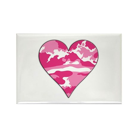 Pink Camo 2D Valentine Heart Rectangle Magnet (100