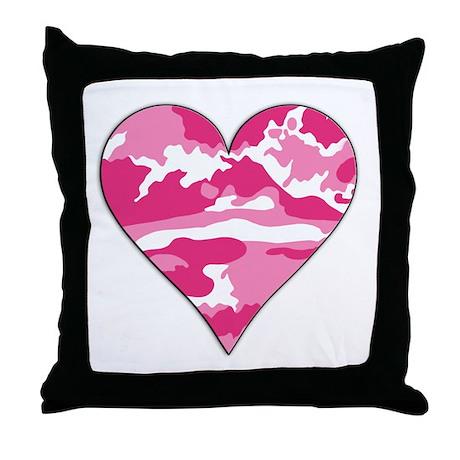 Pink Camo 2D Valentine Heart Throw Pillow