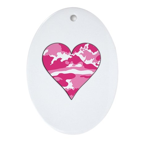 Pink Camo 2D Valentine Heart Oval Ornament