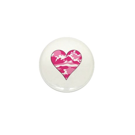 Pink Camo 2D Valentine Heart Mini Button (100 pack