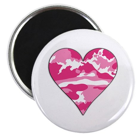 "Pink Camo 2D Valentine Heart 2.25"" Magnet (100 pac"