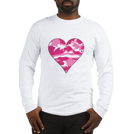 Pink Camo 2D Valentine Heart Long Sleeve T-Shirt