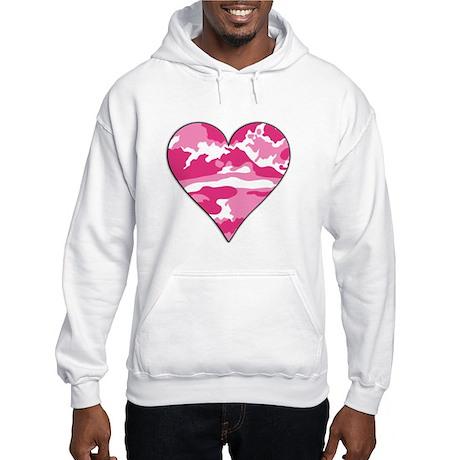 Pink Camo 2D Valentine Heart Hooded Sweatshirt