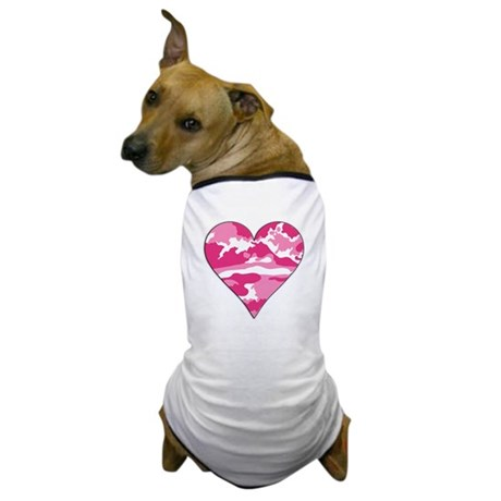 Pink Camo 2D Valentine Heart Dog T-Shirt