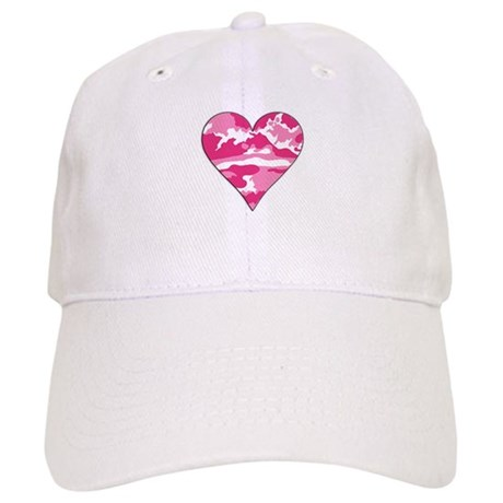 Pink Camo 2D Valentine Heart Cap