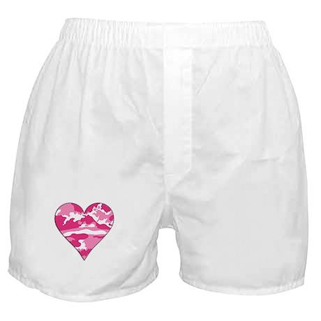 Pink Camo 2D Valentine Heart Boxer Shorts