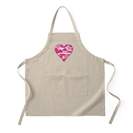 Pink Camo 2D Valentine Heart BBQ Apron