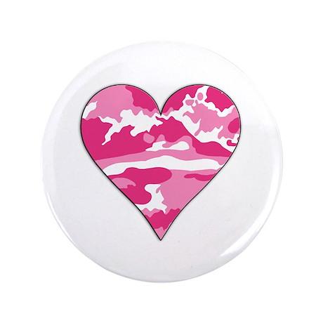 "Pink Camo 2D Valentine Heart 3.5"" Button (100 pack"