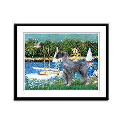 PS G. Schnauzer & Sailboats Framed Panel Print