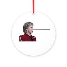 Hillary Clinton Pinocchio Ornament (Round)