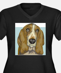 Basset Hound (Front only) Women's Plus Size V-Neck