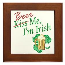 Kiss Me-Beer Me _ Framed Tile