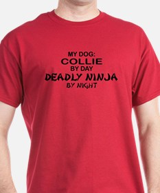 Collie Deadly Ninja by Night T-Shirt
