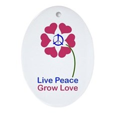 Imagine Peace & Love Oval Ornament