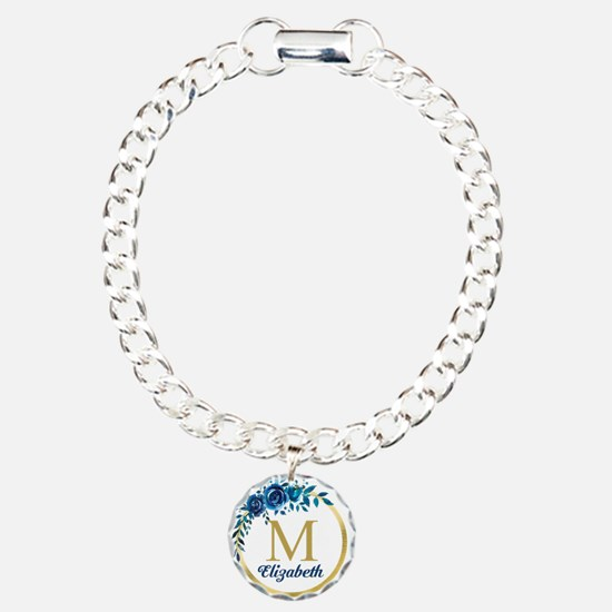 Blue Floral Gold Circle Monogram Bracelet
