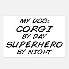 Corgi Superhero by Night Postcards (Package of 8)