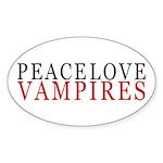 Peace, Love, Vampires Oval Sticker