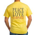 Peace, Love, Vampires Yellow T-Shirt