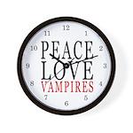 Peace, Love, Vampires Wall Clock