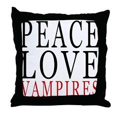 Peace, Love, Vampires Throw Pillow