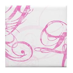 pink swish Tile Coaster