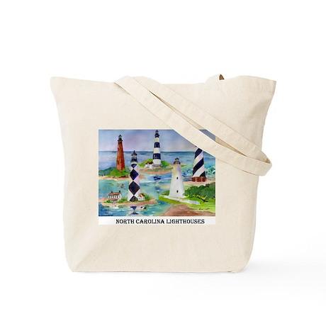 NC Light Houses Tote Bag