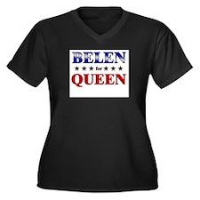 BELEN for queen Women's Plus Size V-Neck Dark T-Sh