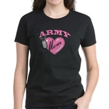 Army Mom Pink Heart N Dog Tag Tee