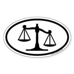 Scales of Justice Legal Oval Sticker