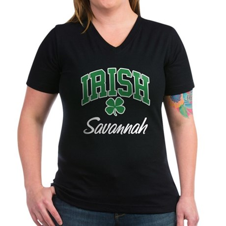 Savannah Irish Women's V-Neck Dark T-Shirt