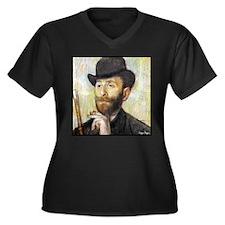 "Faces ""Degas"" Women's Plus Size V-Neck Dark T-Shir"