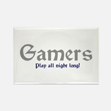 Gamers Play All Night Long Rectangle Magnet