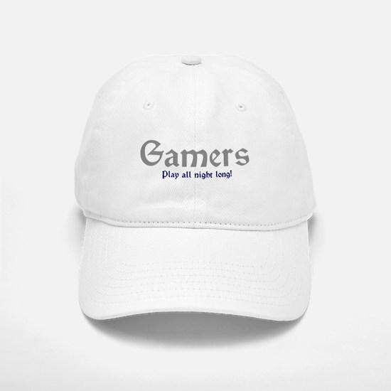 Gamers Play All Night Long Baseball Baseball Cap