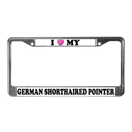 I Heart German Shorthaired Pointers License Frame