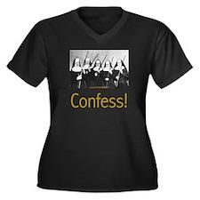 Confess! Women's Plus Size V-Neck Dark T-Shirt
