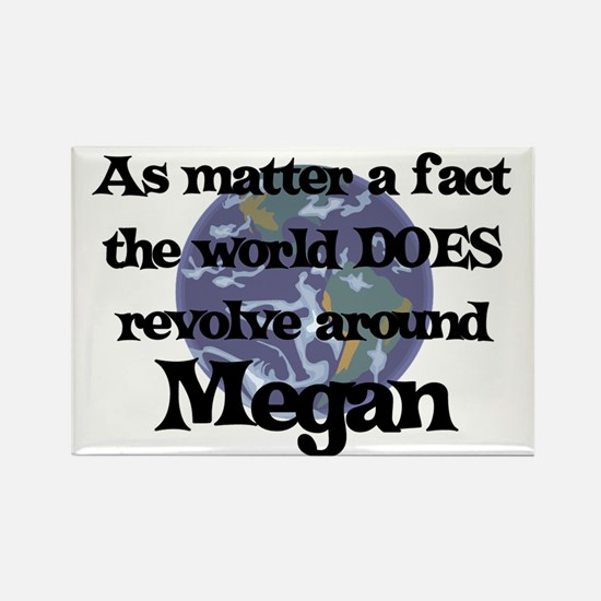 World Revolves Around Megan Rectangle Magnet
