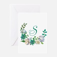 Monogrammed Spring Floral Wreath Greeting Cards