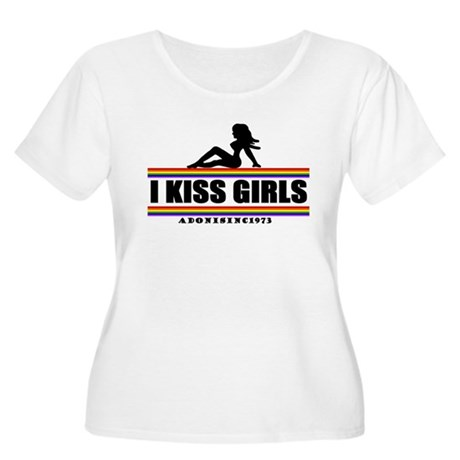 I KISS GIRLS Women's Plus Size Scoop Neck T-Shirt