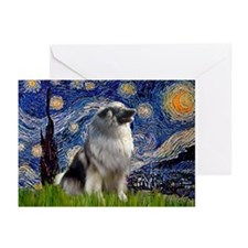 Starry Night & Keeshond Greeting Cards (Pk of 10)