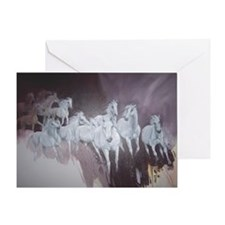 Horse Herd White Greeting Cards