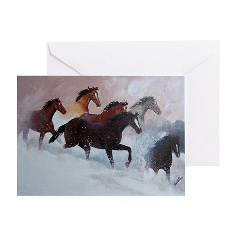 horses on a snowbank Greeting Cards